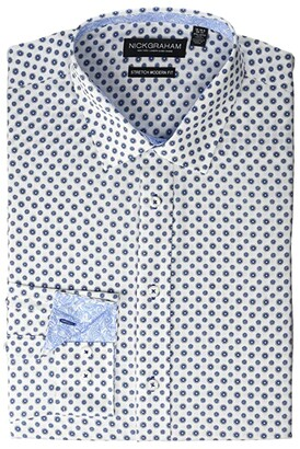 Nick Graham Daisy Floral CVC Stretch Dress Shirt (White) Men's Long Sleeve Button Up