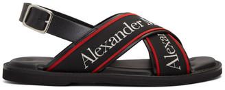 Alexander McQueen Black Logo Cross Sandals
