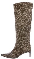 Bottega Veneta Satin Leopard Print Knee-High Boots