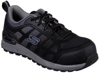 Skechers Bulkin Lyndale Safety Slip Resistant Toe Cap Trainers - Black/Grey