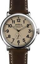 Shinola 47mm Runwell Men's Watch, Cream/Dark Brown