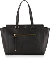 Furla Ginevra Large Leather Satchel Bag, Onyx