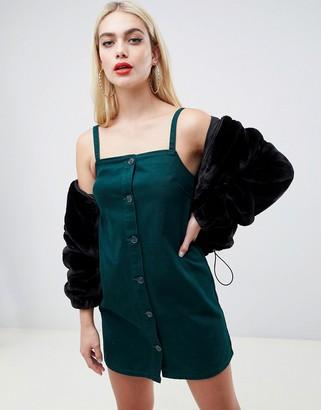 Asos Design DESIGN denim cami dress with button front in dark green