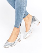 Pull&Bear Metallic Ballet Pump with Block Heel
