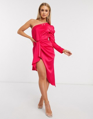 I SAW IT FIRST satin one shoulder midi dress in pink