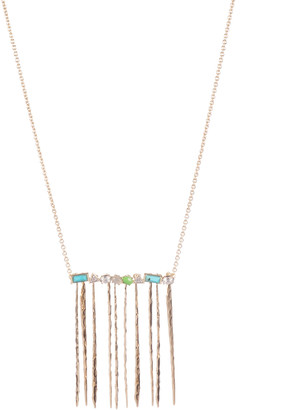 Alexis Bittar Multi-Stone Hammered Fringe Pendant Necklace