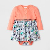 Cat & Jack Baby Girls' 2pc A-Line Dress and Cardigan Set - Cat & Jack Floral/Peach