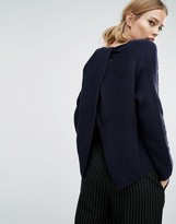 French Connection Twist Back Shaker Knit Sweater