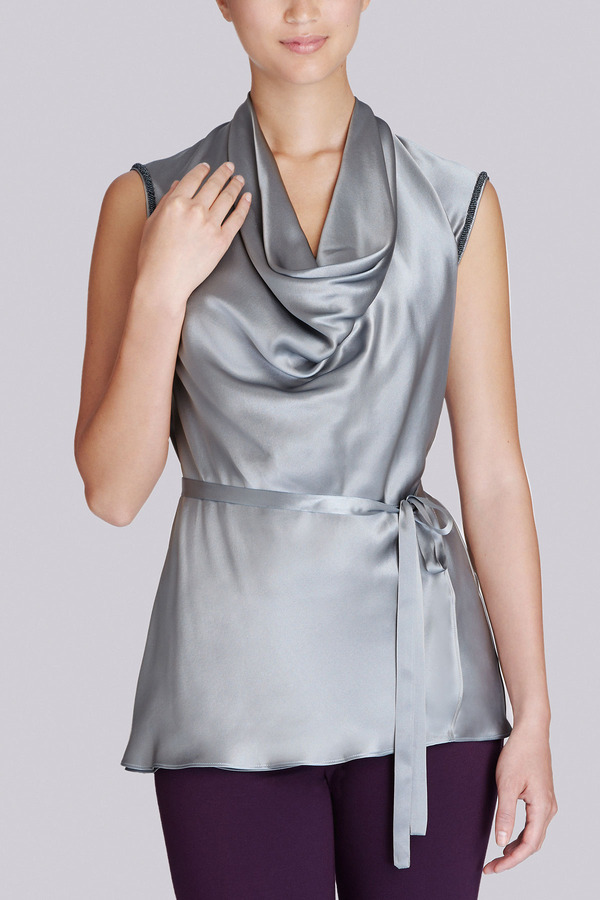 Josie Natori Silk Charmeuse Embellished Cowl Neck Panel Top