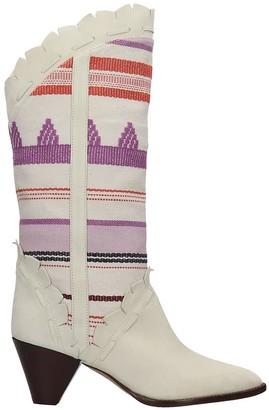 Isabel Marant Leesta Low Heels Ankle Boots In Beige Suede