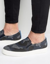 Armani Jeans Camo Slip On Sneakers in Navy