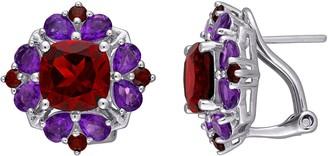 Stella Grace Sterling Silver Garnet & Amethyst Omega Clip Stud Earrings