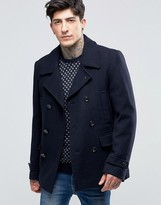 Scotch & Soda Peacoat In Wool In Navy Night