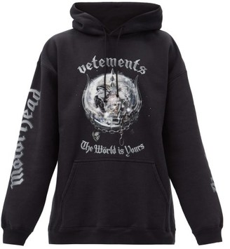 Vetements X Motorhead Printed Cotton-blend Hooded Sweatshirt - Black