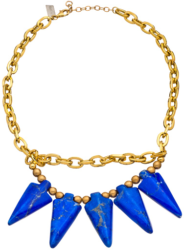 K. Amato Blue and Gold Spiked Choker Necklace