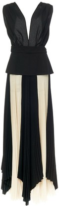 TRE by Natalie Ratabesi Two Tone Pleated Asymmetric Gown