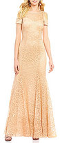 R & M Richards Cold-Shoulder Short Sleeve Sweetheart Lace Gown