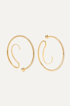 Panconesi Upside-down Convertible Gold-plated Crystal Hoop Earrings