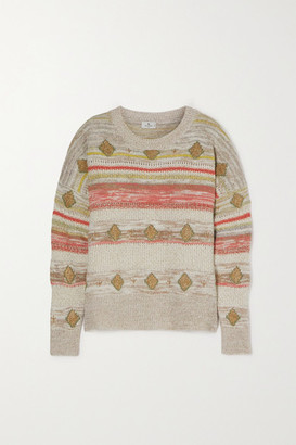 Etro Metallic Intarsia Wool-blend Sweater - Beige