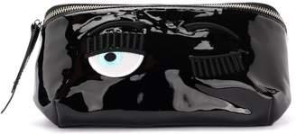 Chiara Ferragni Waist Bag Flirting In Black Paint Leather