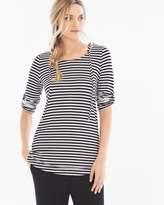 Soma Intimates Tab Sleeve Pullover Hoodie Stripe Black/White