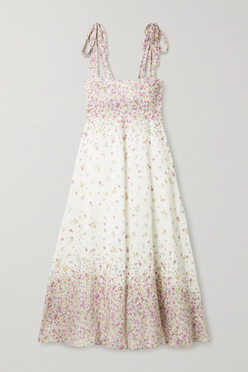 Zimmermann Carnaby Floral-print Linen Midi Dress - White