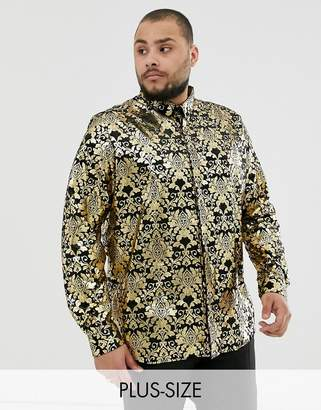 Twisted Tailor Plus velvet shirt with gold baroque print-Black
