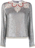 Ashish bead embellished sequin top - women - Silk - S