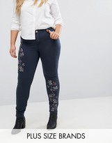 Lost Ink Plus Embroidered Jean