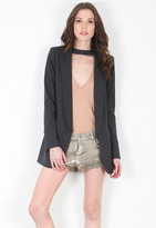 Smythe Long Notched Blazer with Removable Choker in Carbon