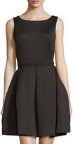 Taylor Laser-Cut Fit & Flare Scuba Dress, Black