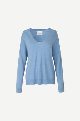 Samsoe & Samsoe Cashmire V-neck sweater - xs   blue - Blue/Blue/Ecru