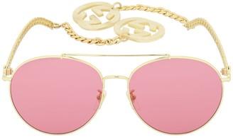 Gucci Gg0725s Chain Round Metal Sunglasses