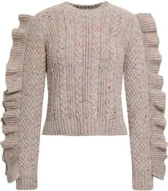 Philosophy di Lorenzo Serafini Ruffled Marled Cable-knit Wool-blend Sweater