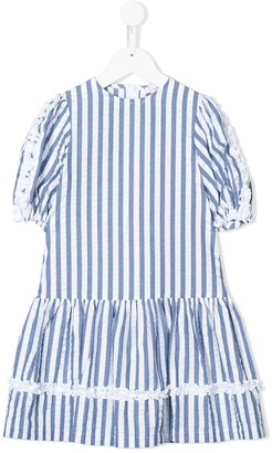 Il Gufo Striped Frill-Trimmed Dress
