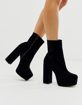 Asos Design DESIGN Eclipse premium suede platform ankle boots in black