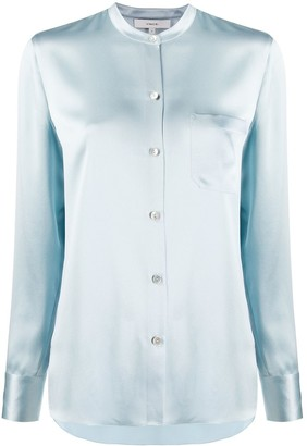 Vince Mandarin Collar Slim Fit Shirt