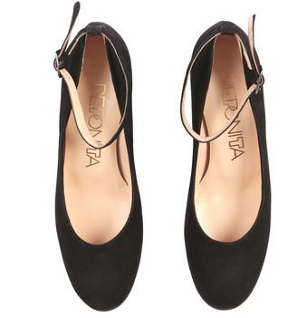 Peponita - Ealing Court Shoe in Black Embossed Suede - EU38 (UK5)