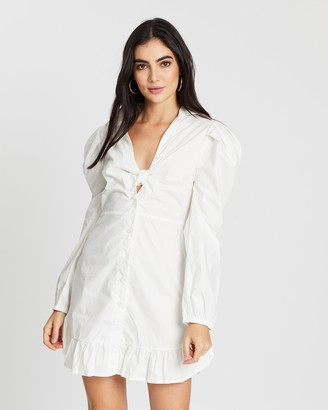 boohoo Knot Front Frill Hem Shirt Dress