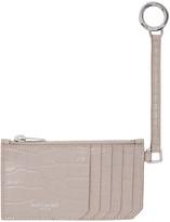 Saint Laurent Pink Croc-Embossed 5 Fragments Keyring Zip Card Holder