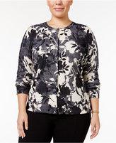Karen Scott Plus Size Floral-Print Herringbone Cardigan, Only at Macy's