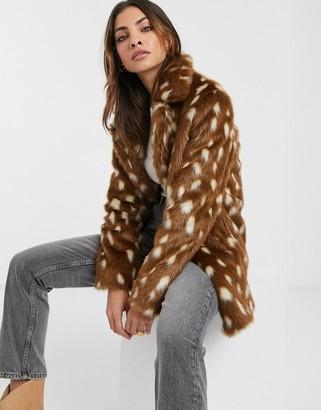 Urban Code Urbancode faux fur coat in deer