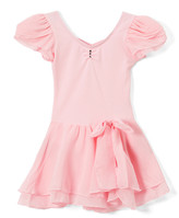 Wenchoice Girls' Leotards PINK - Pink Chiffon Bow-Accent Skirted Ballet Dress - Infant, Toddler & Girls