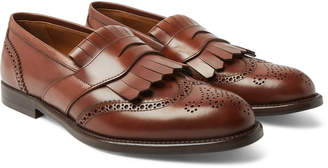 Brunello Cucinelli Brogue-Detailed Leather Kiltie Loafers - Men - Brown
