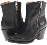 Frye Leslie Zip Bootie (Black Vintage Veg Tan) - Footwear