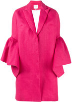 DELPOZO bell sleeve single breasted coat - women - Cotton/Linen/Flax - 40