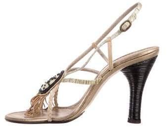 CNC Costume National Embellished Metallic Sandals