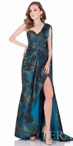 Terani Couture One Shoulder Leaf Print Evening Gown