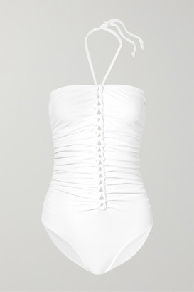Karla Colletto Joana Ruched Halterneck Swimsuit - White