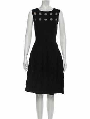 Alaia Square Neckline Knee-Length Dress Black
